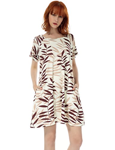 OEUVRE Women's Tunic Floral Leaves Print Shift T Shirt Pocket Casual Jersey Dress Beige 10 (Leopard Print Jersey Dress)