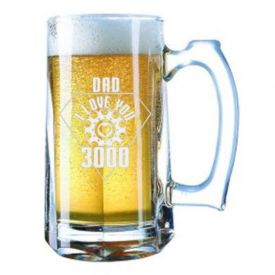 Giant Laser Engraved Beer Mug 28 Ounces Beer Stein - Dad I Love You 3000 Metal Heart Reactor Film Parody Father's Day
