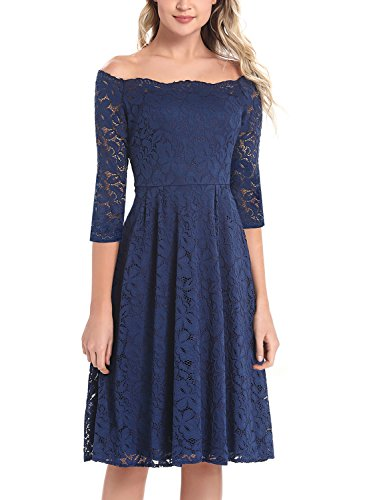 097ff2adf44f0 Dresspretty Women's Vintage Floral Lace 3/4 Sleeves Off Shoulder Boat Neck  Cocktail Evening Party Swing Dress .
