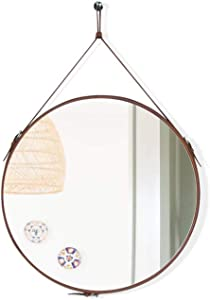 Gurfuy Round Hanging Wall Mirror Circle Mirror with PU Leather Strap for Entryway Bathroom Living Room Wall Hook Included(Brown-20 Inch)
