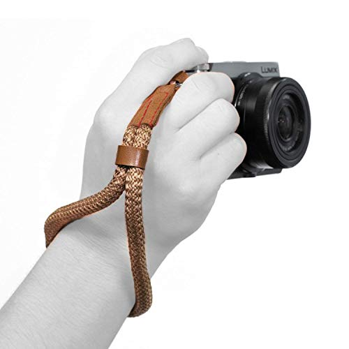 MegaGear MG942 Cotton Camera Hand Wrist Strap Comfort Padding, Security for All Cameras (Small23cm/9inc), Brown