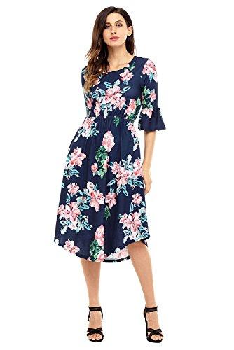 Dress Waist Cinch (Women Casual 3/4 Flounce Bell Sleeves Round Hem Side Pockets Floral Print Midi Dress Cinch Waist Summer Boho Dress)
