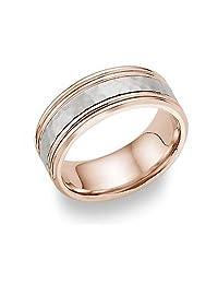 14K Rose Gold Hammered Wedding Band Ring