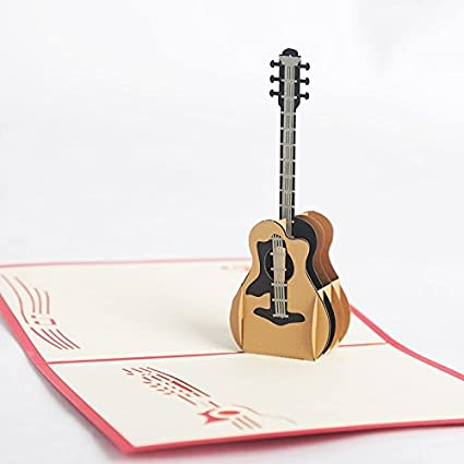 3D Popup Birthday Greeting Card Guitar Design For Music Fans Musical Instrument Boys Girls