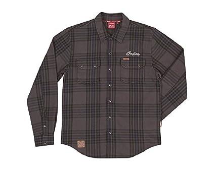 Indian Motorcycle - Camisa de cuadros para hombre, color gris, talla XL