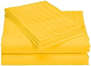 SCALABEDDING 100% algodón egipcio 6piezas 400TC bolsillo profundo juego de sábanas–Full XXL amarillo rayas