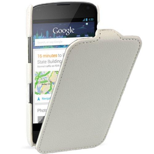 xubix Ledertasche LG Google Nexus 4 Flip case Tasche Leder Schutzhülle Hülle - maßgefertigt - Flipcase in weiss