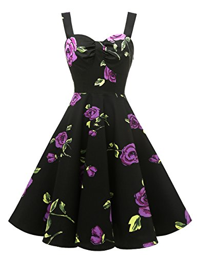 DRESSTELLS 1950s Retro Audrey Swing Pinup Rockabilly Dress Pleated Vintage Dress PurpleFlower L by DRESSTELLS