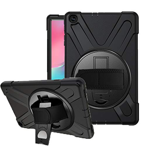 Azzsy Galaxy Tab A 10.1 2019 Case SM-T510/T515,[360 Degree Swivel Stand/Hand Strap] Slim Heavy Duty Shockproof Rugged Full Body Protective Case for Galaxy Tab A 10.1 Inch Tablet 2019 Release,Black (Best Rugged Camera 2019)