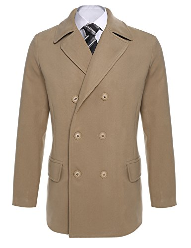 COOFANDY Men Trench Coat Winter Fashion Notched Collar Long Sleeve Double-Breasted Pea (Double Breasted Notched Collar Peacoat)