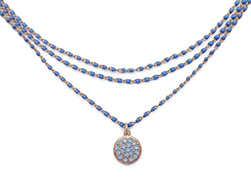 Catherine Popesco Air Blue Opalescent Swarovski Crystal Blue Beaded Goldtone Layered Necklace
