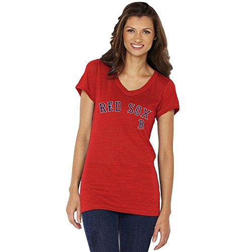 Soft As A Grape Women's MLB Team Logo Jersey V-Neck T-Shirt-Red-Boston Red Sox-Large