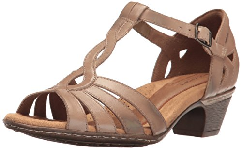 Cobb Hill Donna Abbott Curvy T Sandalo In Pelle Color Kaki