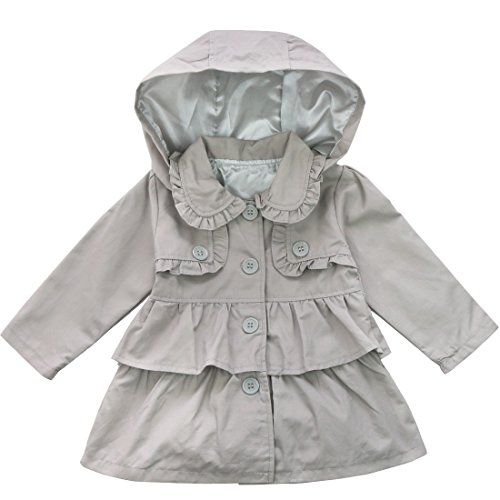 Freebily Baby Toddler Girls Fall Winter Trench Wind Dust Sweater Traditional England Style Hooded Coat Jacket Outwear Grey 2T