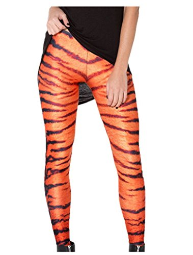 Jescakoo Cute Tiger Fur Pattern Print Leggings for Women One Size -