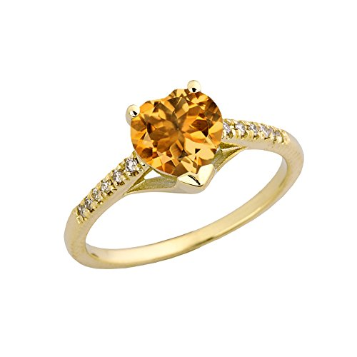 Exquisite 10k Yellow Gold Diamond Solitaire Citrine Heart Engagement/Proposal Ring (Size 9)
