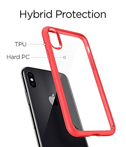 Spigen Ultra Hybrid Funda Transparente - Fundas para teléfonos móviles (Funda, Apple, iPhone X, Transparente) Rojo