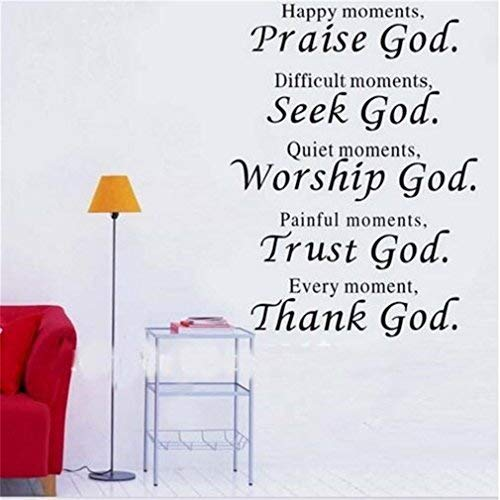 (hiusan Bible Verse Every Moment Thank God Quote Thank Praise Seek Worship Trust God Quotes Wall Decals Vinyl Stickers for Bedrooms Living Room Kids Room)
