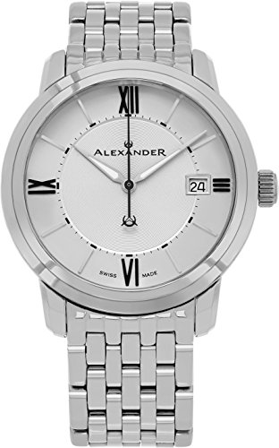 - Alexander Heroic Macedon Mens Dress Watch Stainless Steel Metal Band - 40mm Analog Silver Face with Second Hand Date and Sapphire Crystal - Classic Swiss Made Quartz Watches for Men A111B-04