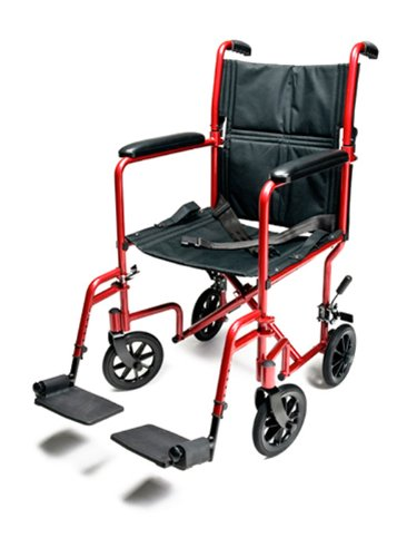 Everest & Jennings Lightweight Aluminum Transport Chair with 5 Inches Swivel Casters, 19 Inches Seat, Red