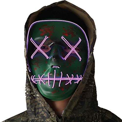 Halloween Mask Cosplay LED Glow Scary EL Wire Light Up Grin Masks for Festival Parties Costume (Halloween mask for Purple) -