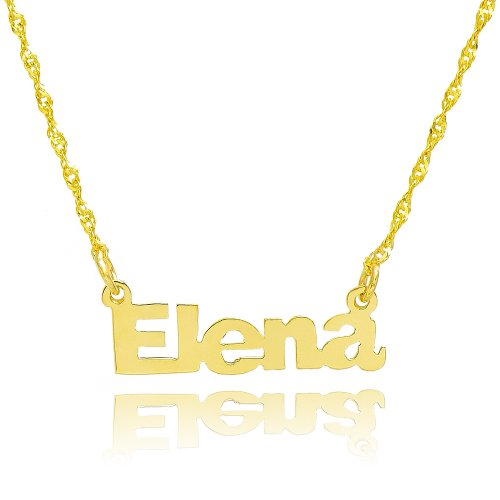10k Yellow Gold Personalized Name Necklace - Style 1 (16 Inches, Singapore Chain) by Pyramid Jewelry
