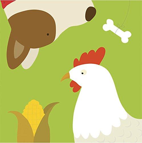 Yuko Lau Farm - Farm Group - Hen and Dog by Yuko Lau - Ready to Hang Canvas Giclee - 18 x 18 inches
