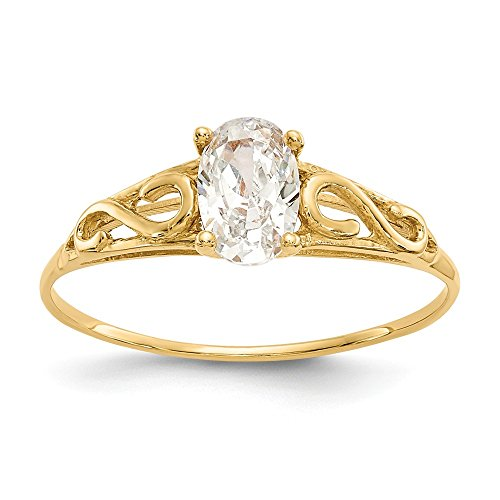 14k Yellow Gold Synthetic White Spinel Band Ring Size 5.00 Baby Fine Jewelry Gifts For Women For Her