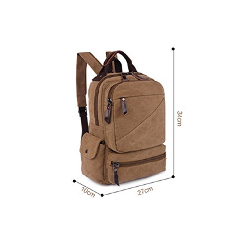 purpose Multi Bag Shoulder Laidaye Business Leisure Retro Canvas Backpack Travel Brown 080qRwx1