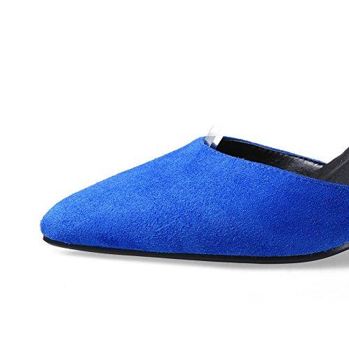 AllhqFashion Mujeres Sólido Piel De Oveja Plataforma Puntera En Punta Cerrada Velcro Sandalia Azul