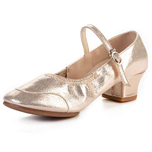 FEETCITY Womens Low Heel Dance Dress Shoes: Ballroom Salsa Swing Practice Casual Gold 5 M US Big Kid / 5 M US Women