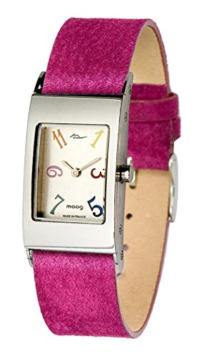 Moog Paris Dome Classy Women's Watch with Brushed Silver Dial, Interchangable Pink Strap in Genuine Pecari Skin - M41621-004