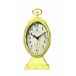 Creative Co-op Metal Rustic Retro Table Clock, Yellow