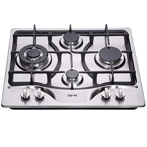 NOXTON Gas Cooktop Hob Gas Stove Top With 4 Sealed Burners for LPG Natural Gas Stainless Steel with FFD Thermocouple Protection Easy To Clean