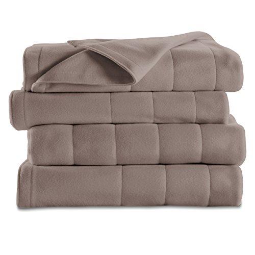 Sunbeam Quilted Fleece Heated Blanket, Twin, Mushroom, BSF9GTS-R772-13A00