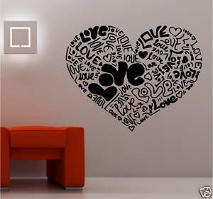 Online Design Giant Love Heart Made From Love Vinyl Wall Art Bedroom    Black: Amazon.co.uk: Car U0026 Motorbike