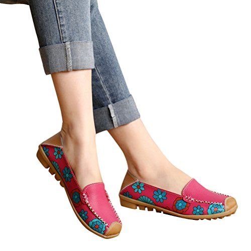 Whenow Femmes Confortables Slip Sur Bateau Ballet Chaussures Plates Chaussures De Conduite Femmes Enceintes Chaussures Rouge