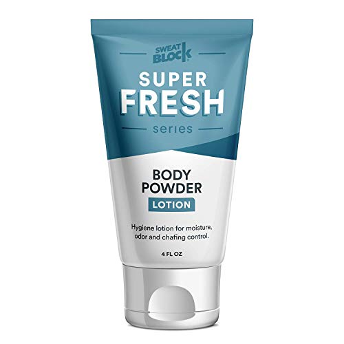 Super Fresh Body Powder Lotion by SweatBlock – Talc Free, Anti-Chafing, Deodorizing, Natural Ingredients – No Mess Body…