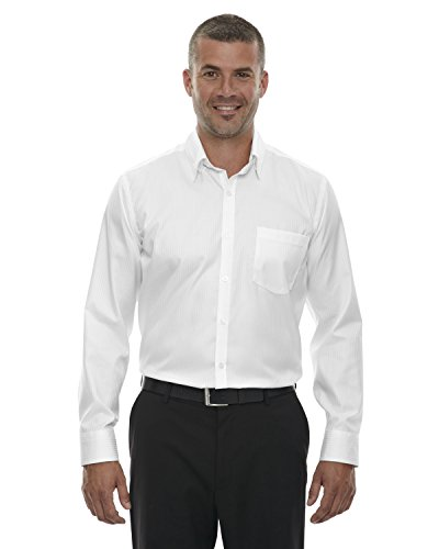 (North End Mens Wrinkle Free Striped Dress Shirt. 88646 - X-Large - White)