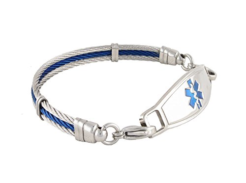 N Style ID The Bay Cable Personalized Medical ID Bracelet 7.25 by N-Style ID