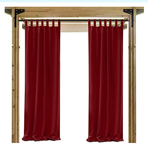 Cololeaf Indoor/Outdoor Tab Top Curtain Water Repellent For Patio| Porch| Gazebo| Pergola | Cabana | dock| beach home - Red 84W x 96L Inch (1 Panel) by COFTY