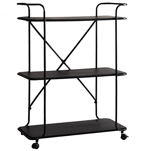 Giantex 3-Tier Storage Cart Rolling Cart with Display MDF Board Shelf Metal Frame Stand Organizer Rolling Storage Garage Home Office Kitchen Tool Utility Cart (Black) by Giantex