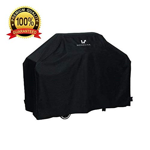 Wenscha BBQ Grill Cover, 57 Inch 210D Light Duty Gas Grill Cover, UV-Resistant & Moisture-Proof, 57x24x46 Inches, Fits Most Brands of Grill – Black
