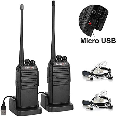 Radioddity GA-2S Long Range Walkie Talkies for Adults UHF Two Way Radio Rechargeable with Micro USB Charging USB Desktop Charger Air Acoustic Earpiece with Mic, 2 Pack