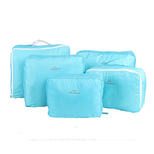 Clothes Travel Luggage Organizer Pouch (Light Blue) Set of 6 - 4