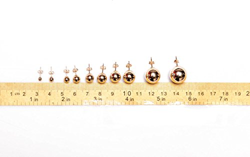 14K Real Gold Ball Stud Earrings Sizes 3 4 5 6 7 8 9 10 12 14 by MC Creations (Image #2)