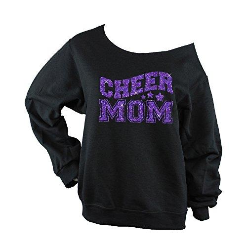 Cheer Mom Sweatshirt (Choose Your Glitter Color) Off Shoulder - 562 Black - BD947 (X Large, Purple Glitter) from Bella Designs Activewear