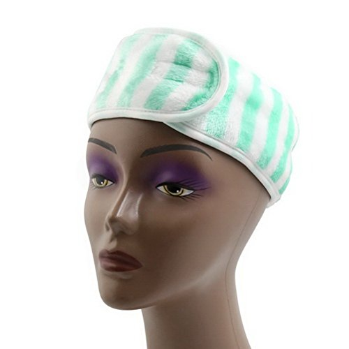 Green Stripe Polyester Hook Loop Closure Make Up Face Wash Hair Band Headband by Ucland (Polyester Loop Stripe)