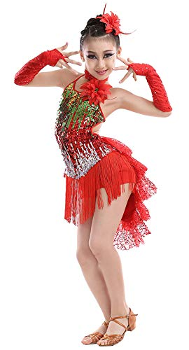 (Kid Girls Tassel Dancewear Tango Salsa Latin Ballroom Dance Outfits Competition Team Uniforms, Red,)