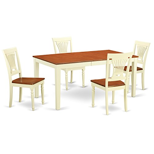 East West Furniture NIPL5-WHI-W 5 Piece Kitchen Table and 4 Chairs Set